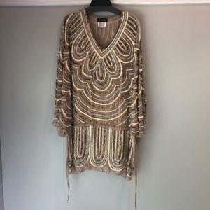 Jovani Tan Cocktail Cape Dress